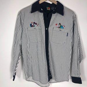 Vintage Mickey Mouse stripe button down shirt 90's